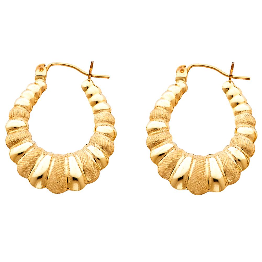 Gemapex Solid 14k Yellow Gold Shrimp Hoop Earrings Hollow Satin