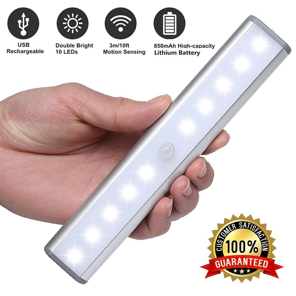 USB Portable 10-LED Wireless Motion Sensor Closet Under Cabinet Night Light Lamp (Silver)