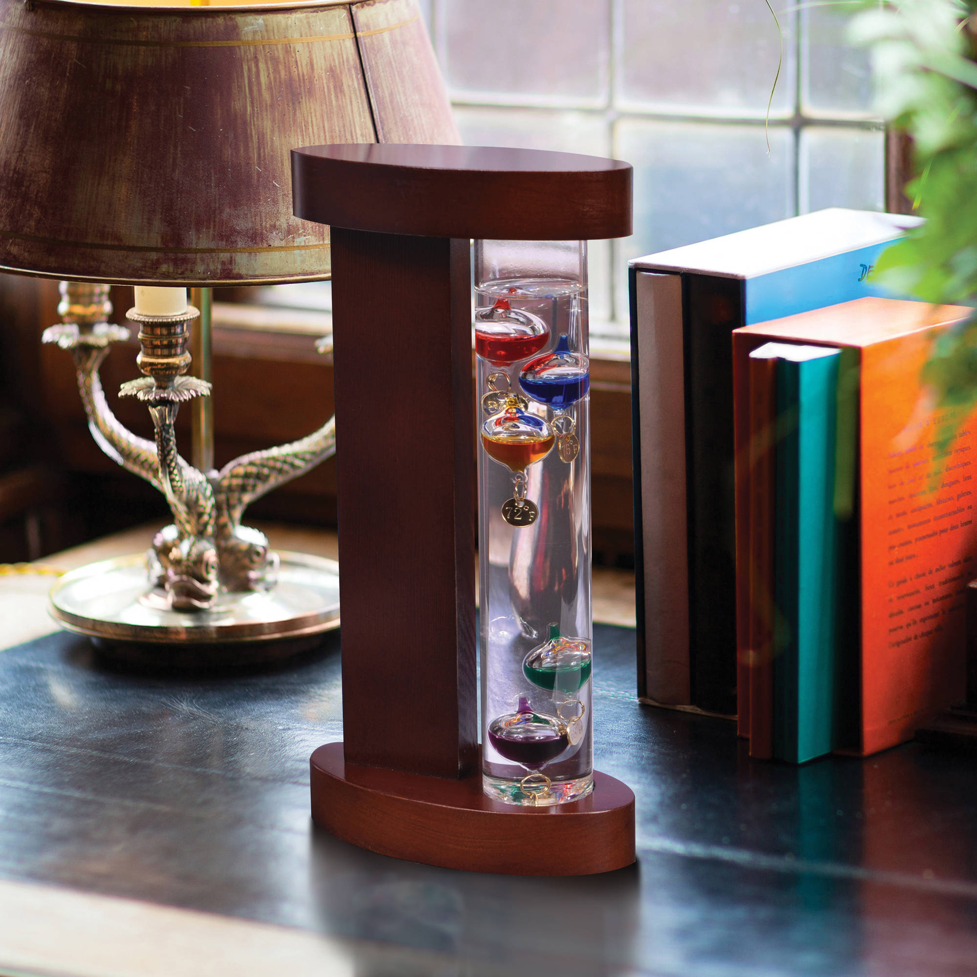 Galileo Thermometer with Wood.