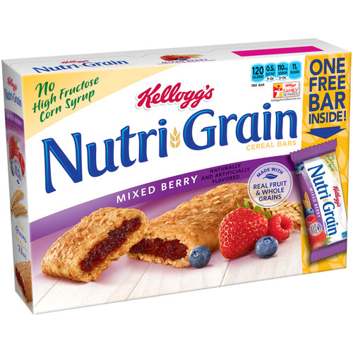 Kellogg's Nutri-Grain Mixed Berry Cereal Bars, 1.3 oz, 9 ct
