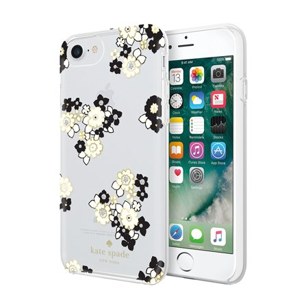 kate spade new york Protective Hardshell Case - Back cover for cell phone - polycarbonate - black, cream, gold foil, floral burst clear, gems - for Apple iPhone 6, 6s, 7