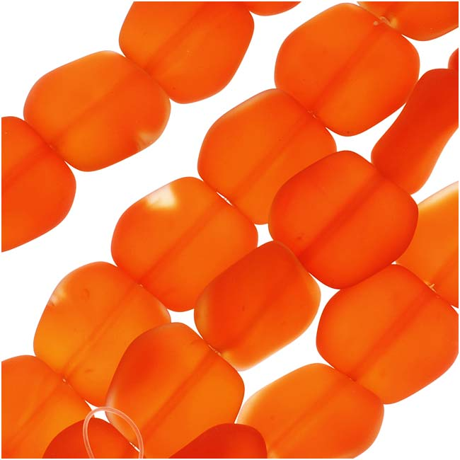 Cultured Sea Glass, Square Nugget Beads 18x17mm, 6 Pieces, Tangerine Orange