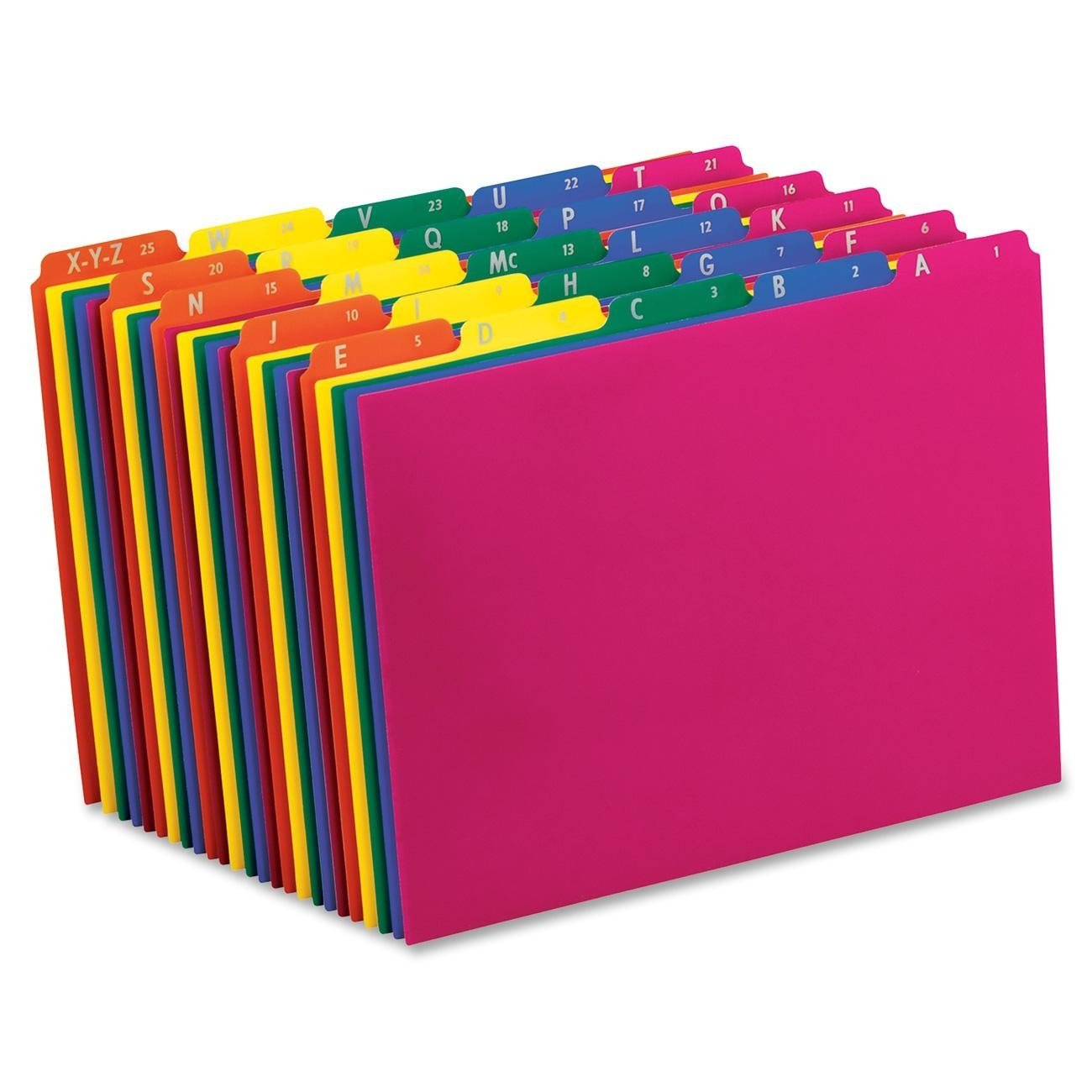 Poly File Guides, A-Z , 1 5 Cut Top Tabs, Letter, Assorted Colors, Alphabetic(A-Z),(40142), Preprinted... by