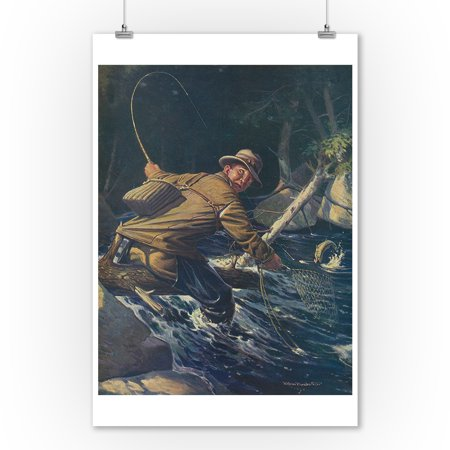 National Sportsman - Fly Fisherman Caught himself on Tree Attempting to Net his Catch (9x12 Art Print, Wall Decor Travel - Fisherman And His Catch Halloween Costume