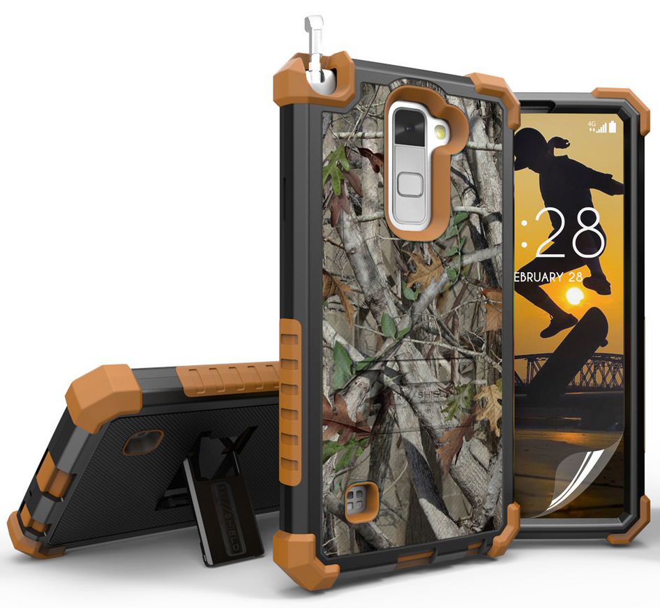 LG STYLO 2 CASE, AUTUMN LEAF TREE CAMO WOODS RUGGED CAMOUGLAGE TREE CASE COVER STAND FOR LG STYLO-2 4G PHONE (Boost Mobile LS775, Cricket K520) (aka Stylus-2)