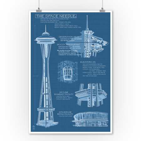 Straight Needles Lantern - Seattle, Washington - Space Needle Technical Drawing (Blueprint) - Lantern Press Artwork (9x12 Art Print, Wall Decor Travel Poster)