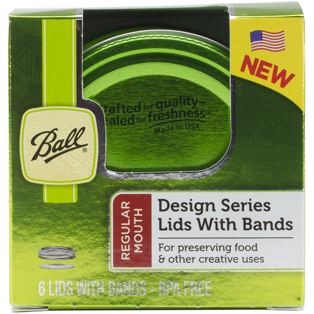 Ball Color 6-Pack Lids and Bands, Green Multi-Colored