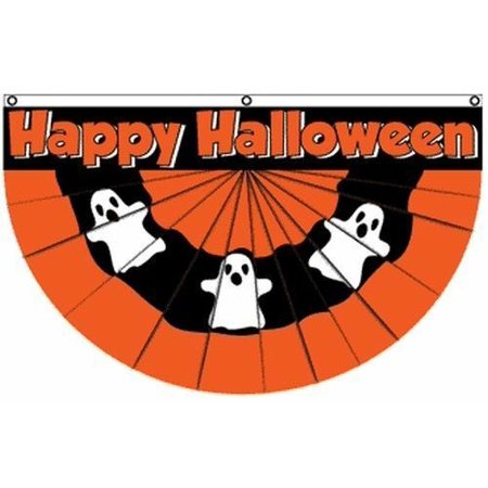 Halloween Usa Flag (Happy Halloween Ghost Bunting Flag 5x3 ft Party Decoration Haunted House)
