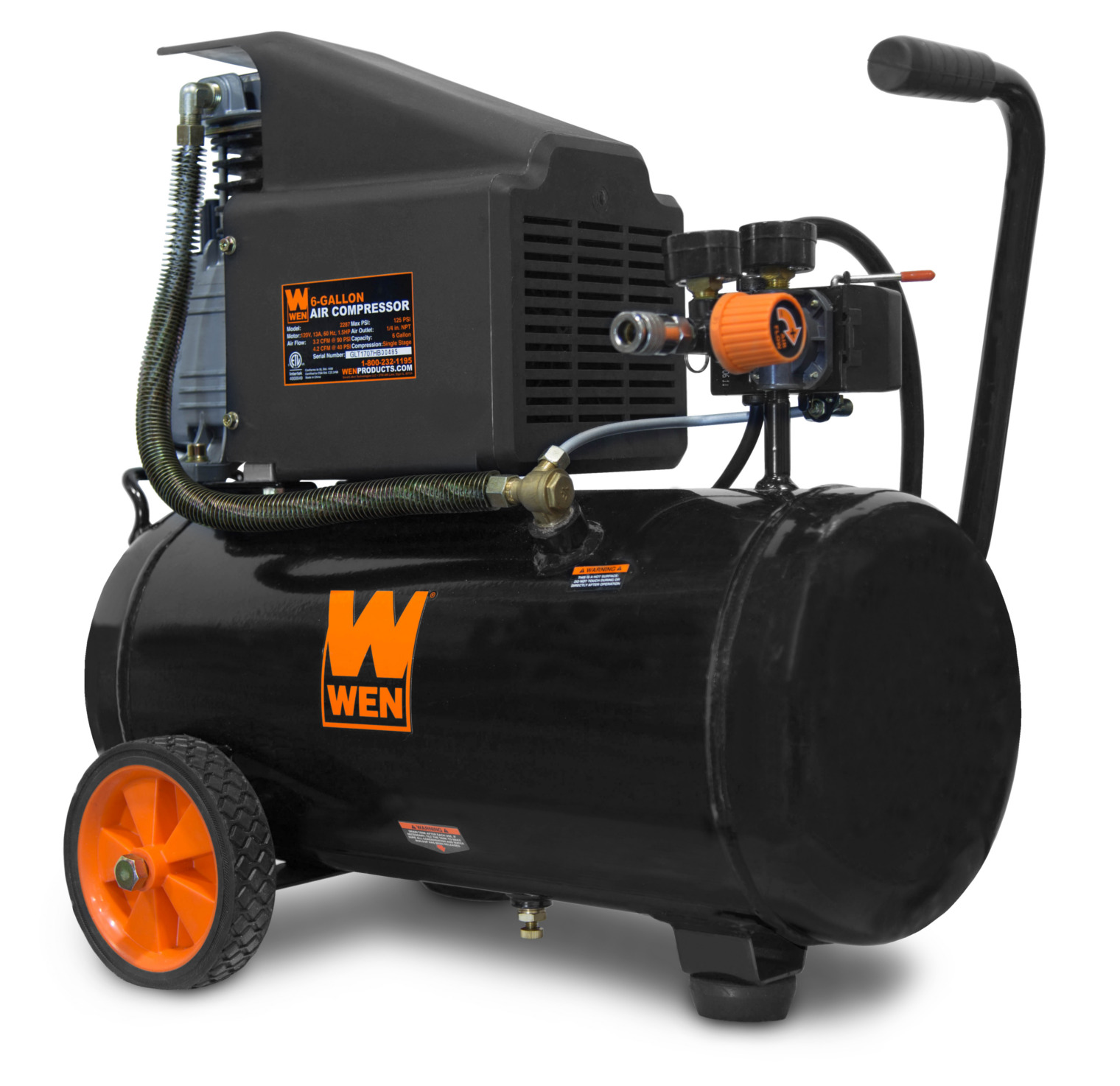WEN 6-Gallon Oil-Lubricated Portable Horizontal Air Compressor by WEN