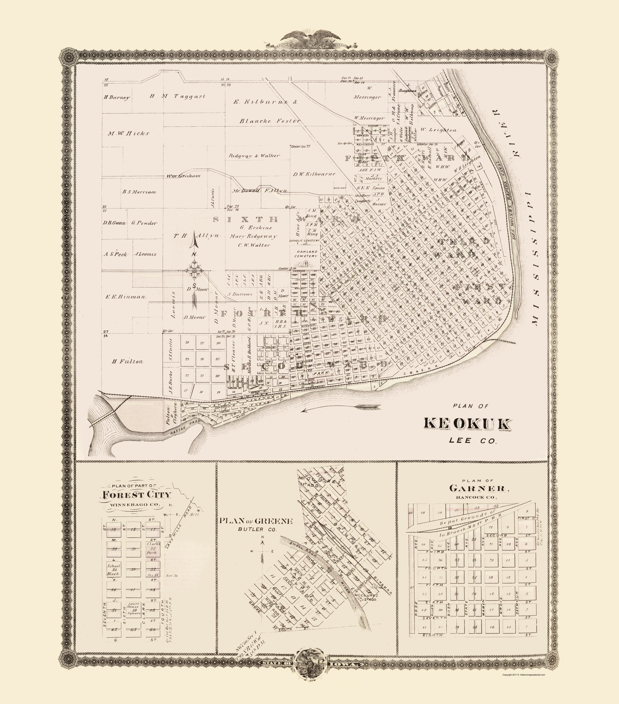 Garner Iowa Map.Old City Map Keokuk Forest City Greene Garner Iowa 1874 23 X