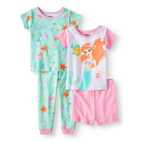 Baby Girls' The Little Mermaid Cotton Tight Fit Pajamas, 4-Piece Set (Mermaid Infant)
