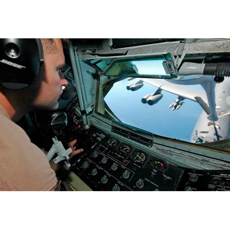 B-52 Stratofortress Bomber (Airman refuels a B-52 Stratofortress bomber from a KC-135 Stratotanker Poster Print by Stocktrek)