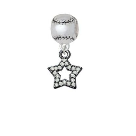 Open Black Star with Clear Crystals - Softball Charm Bead - Softball Beads