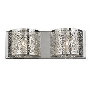"Aramis Collection 2 Light Chrome Finish and Clear Crystal Wall Sconce 20"" W x 7"" H Large"