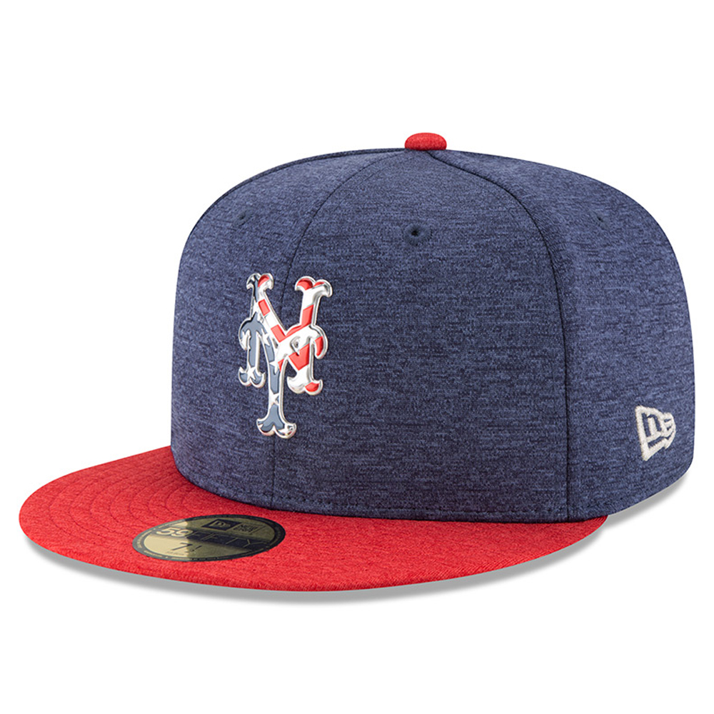 New York Mets New Era 2017 Stars & Stripes 59FIFTY Fitted Hat - Heathered Navy/Heathered Red