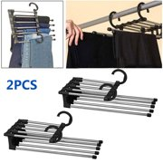 2/1pcs Foldable Adjustable Pants Hangers, TSV 5 in 1 Multi-Layer Stainless Steel Pants Rack for Wardrobe, Hanger Space Saver for Pants Trousers Scarf Tie Belt, Home Storage and Organizer-White/Black