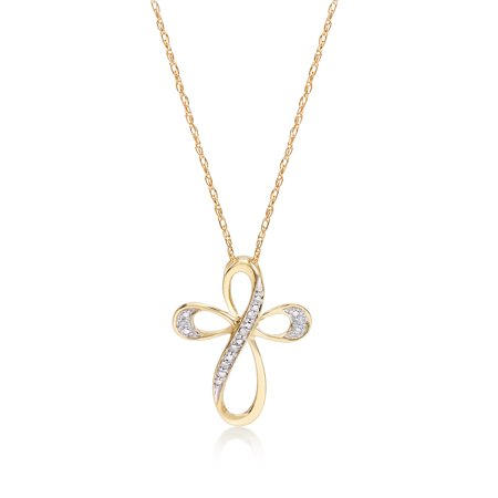 14kt Yellow Gold Diamond Accent Cross Pendant Necklace