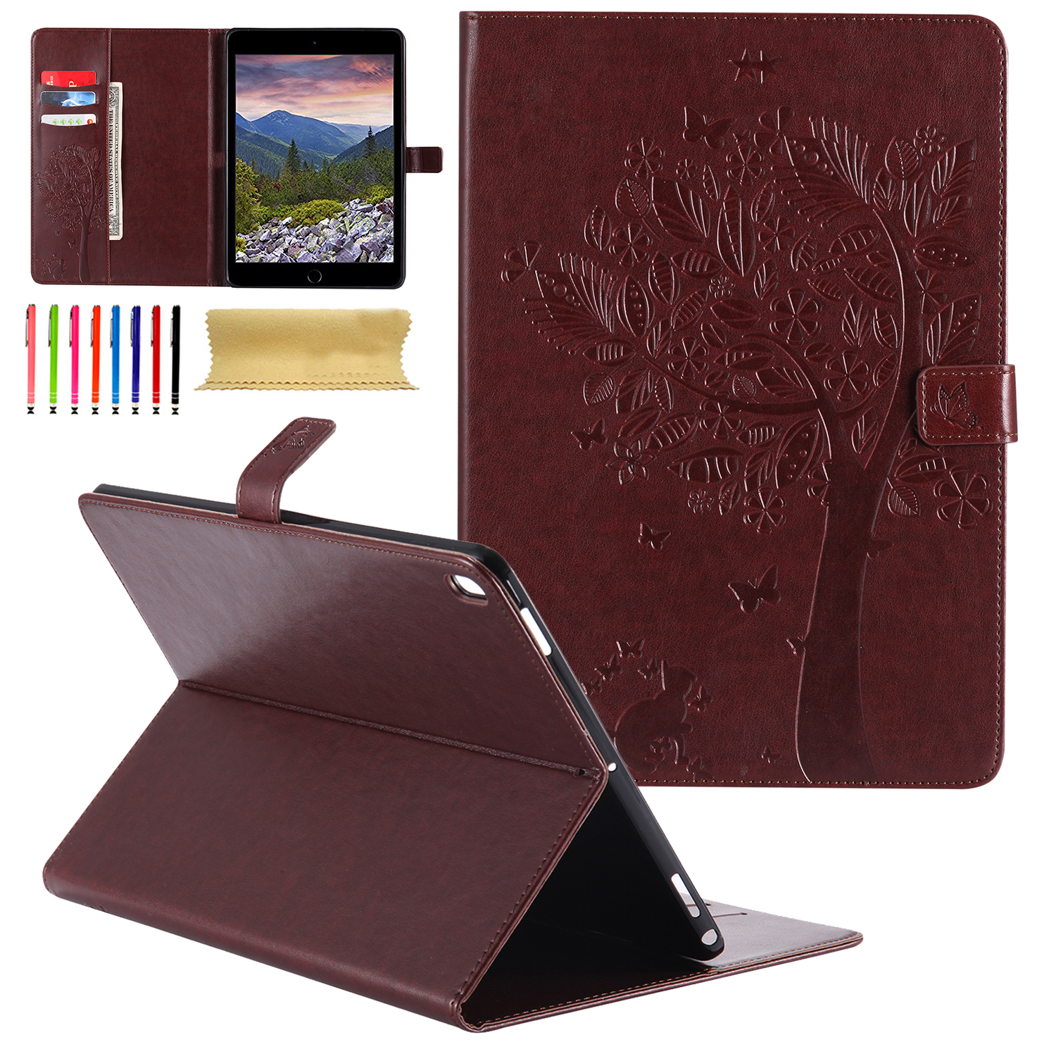 iPad Pro 10.5 Case, Goodest Embossed Butterfly Tree & Cat Magnetic PU Leather Smart Case w/Auto Sleep/Wake Function Stand Cover for Apple iPad Pro 10.5 2017, Coffee