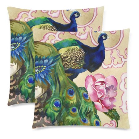 2 Decorative Painting (YKCG Animal Pillowcase Protector 18x18 Twin Sides, Floral Peacock Waterclor Painting Zippered Pillow Case Covers Decorative, Set of)