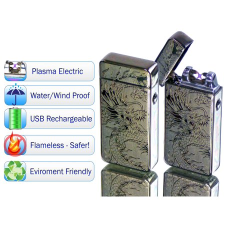 Tac Plasma Lighter Dual Arc Tactical Beam - USB Rechargable, Electric Windproof Splashproof Flameless Lighter, Butane Free Tactical Dual Arch - New Technology - Seen on TV - Silver - Flameless Lighter