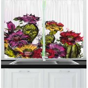 Cactus Curtains 2 Panels Set, Watercolor Painting Style Potted Plants Artistic Cactus Blossoms Gardening Theme, Window Drapes for Living Room Bedroom, 55W X 39L Inches, Multicolor, by Ambesonne