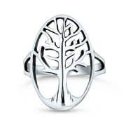 Large Open Oval Statement Family Wishing Tree Of Life Ring for Women for Wife Teen 925 Sterling Silver