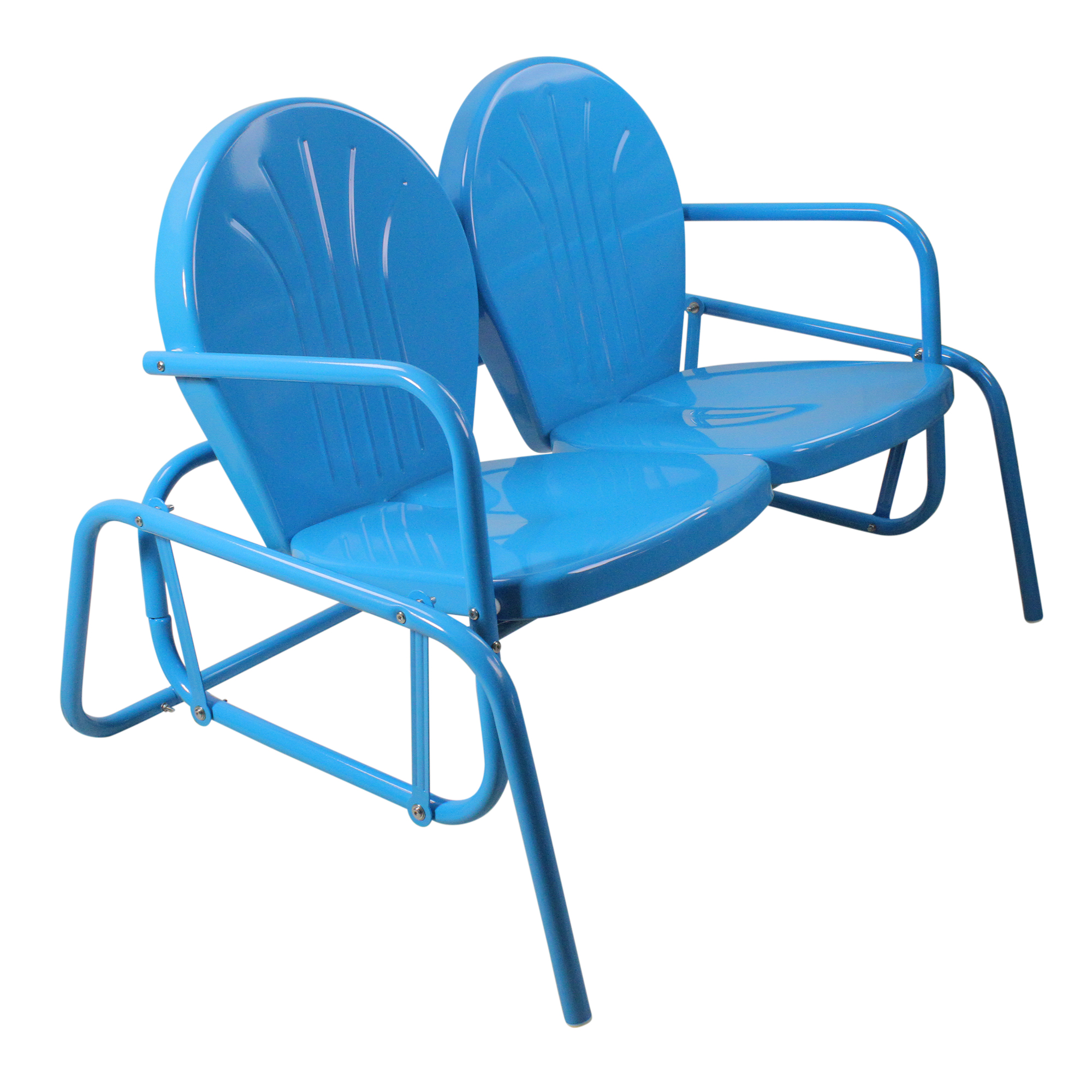 Turquoise Blue Northlight Outdoor Retro Metal Tulip Double Glider