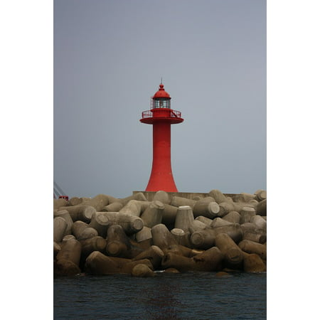 Canvas Print Jeju Island Beach Lighthouse Stretched Canvas 10 x