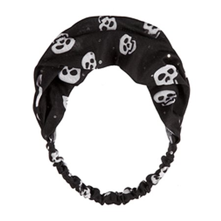 Black Halloween Fashion Headband With a Skull Pattern Design - By Ganz (Halloween Skulls Designs)