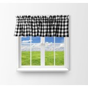 cotton gingham checkered window valance 58 wide black