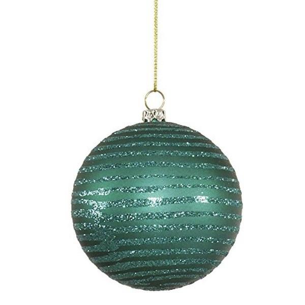 """Vickerman 4.75"""" Emerald Matte/Glitter Ball Christmas Ornament 3 per Box - image 1 of 1"""