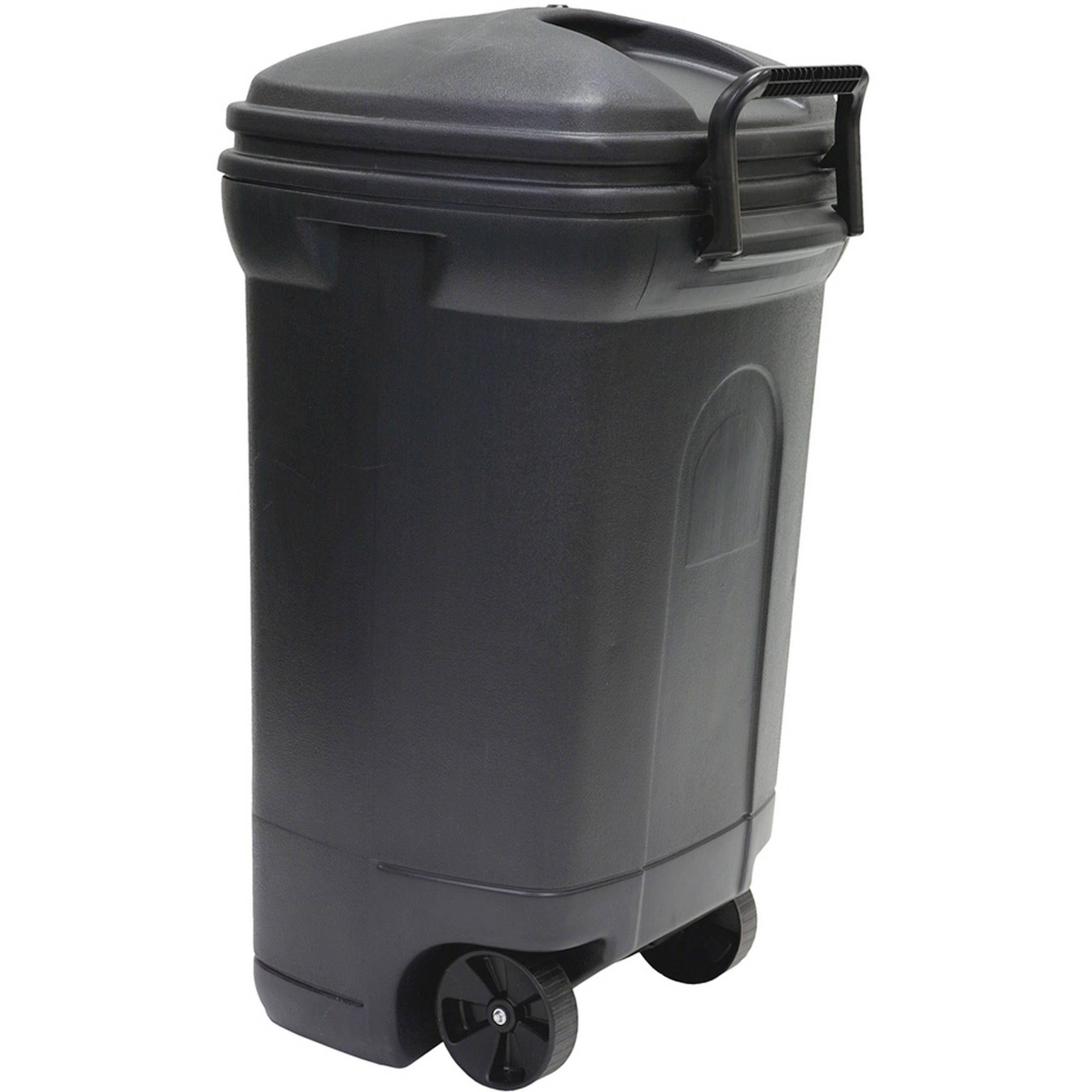 45 Gallon Wheeled Rectangular Blow Molded Trash Can Black