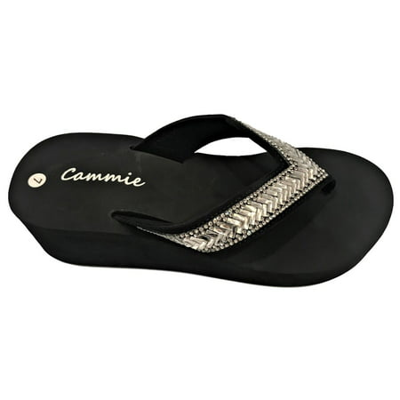 - W-327 Women Platform Wedge Rhinestone Bling Slides Flip Flop Sandals