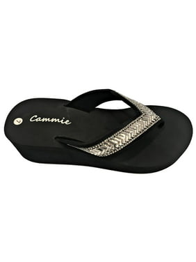 c967d724f Product Image W-327 Women Platform Wedge Rhinestone Bling Slides Flip Flop  Sandals
