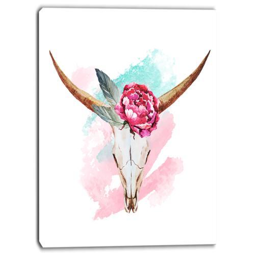 DESIGN ART Designart Bull Skull and Flower Floral Digital Canvas Art Print by Overstock