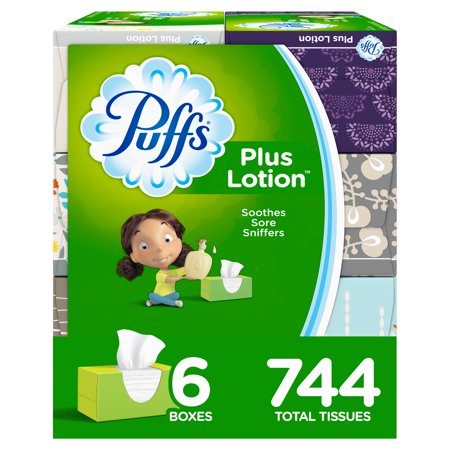 Puffs Plus Lotion Facial Tissues, 6 Family Boxes, 124 Tissues per Box