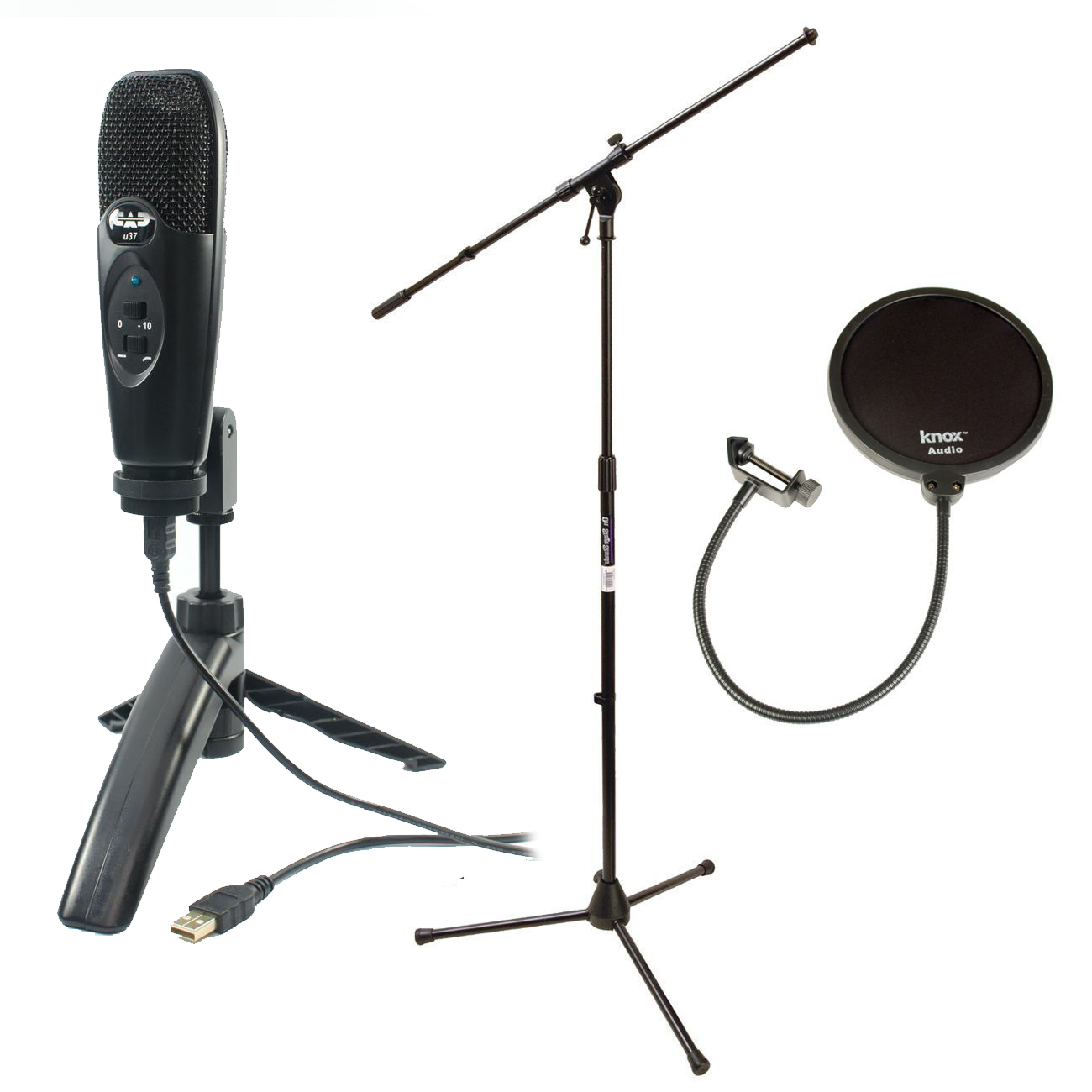 Cad U37 USB Condenser Microphone (Black) with Boom Microphone Stand & Pop Filter