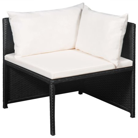 HERCHR 12 Piece Garden Lounge Set with Cushions Poly Rattan Black ()