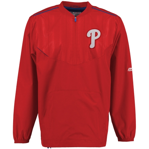 Philadelphia Phillies Majestic On Field Cool Base Training Half-Zip Jacket - Red
