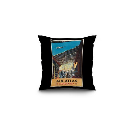 Air Atlas   Casablanca Vintage Poster  Artist  Anonymous  France C  1953  16X16 Spun Polyester Pillow  Black Border