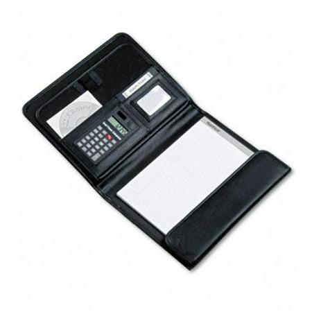 Tri-Fold Padfolio with Calculator  Leather Look Vinyl  Snap  Storage Pockets  Black Black Calculator Padfolio