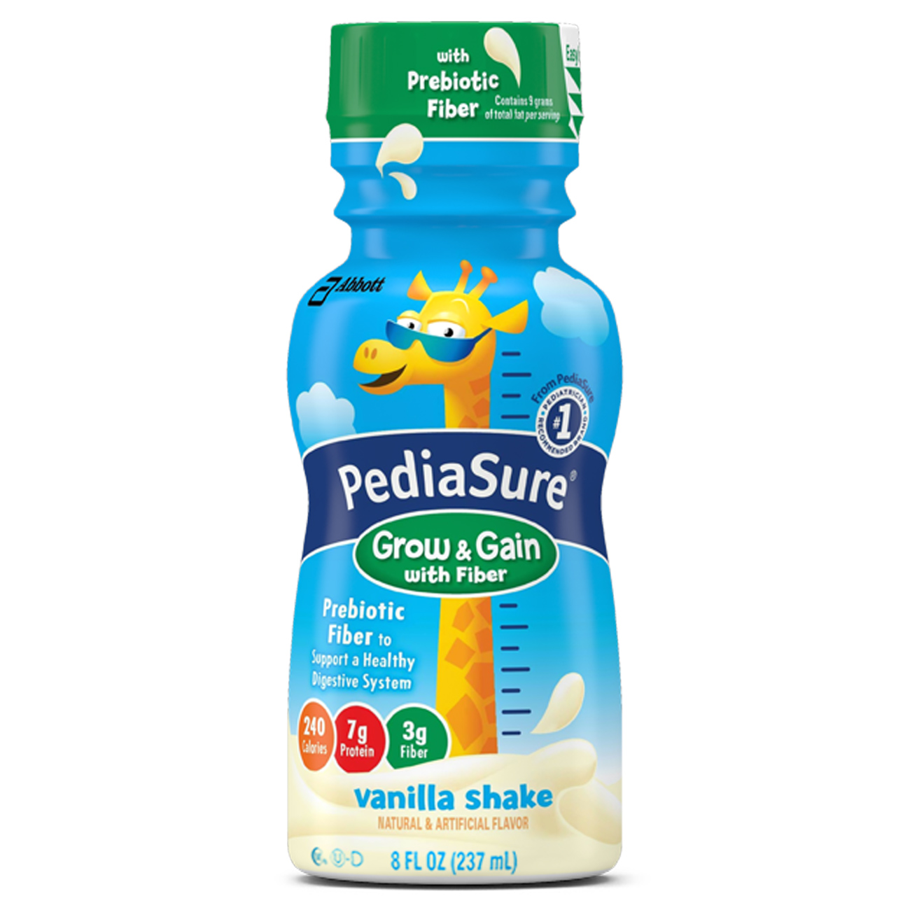 PediaSure Grow & Gain Nutrition Drink with Fiber, Vanilla Shake, 8 fl oz (Pack of 6)