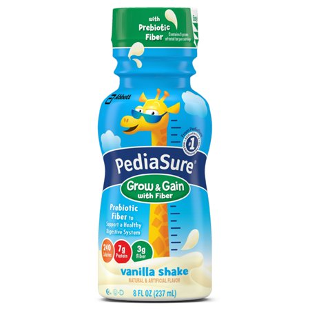 PediaSure Grow & Gain with Fiber Nutrition Shake For Kids, Vanilla, 8 fl oz (4-6 Pack)