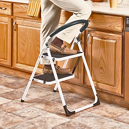 LavoHome 330lbs Upper Reach Reinforced Metal Folding Step Ladder Household Kitchen  Stool (Two Step