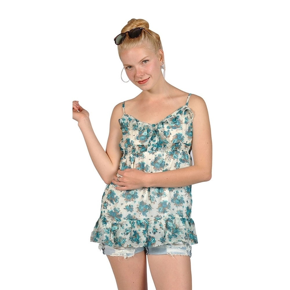 Dna Women's Floral Spaghetti Strap Mini Dress Top (Large, Green)