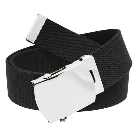 All Sizes Men's Golf Belt in 1.5 Silver Slider Belt Buckle with Adjustable Canvas Web Belt Small (Catchers Slider Shorts)