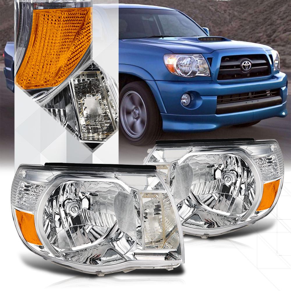 Chrome Housing Headlight Amber Turn Signal Reflector for 05-11 Toyota Tacoma 06 07 08 09 10
