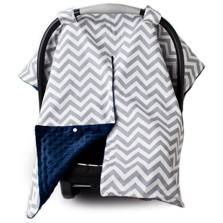 Kids N' Such 2 in 1 Car Seat Canopy Cover with Peekaboo Opening™ - Large Carseat Cover for Infant Carseats - Best for Baby Girls and Boys - Use as a Nursing Cover - Chevron with Navy Dot Minky