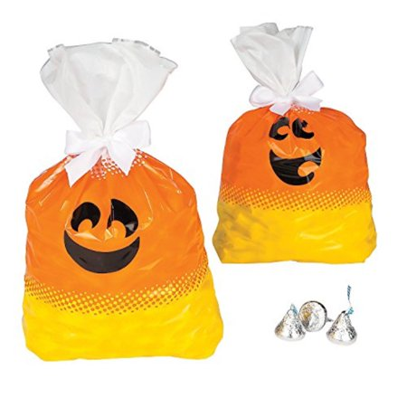 Halloween Candy Corn Themed Plastic Party Favor Gift Bags - 12 pieces - Halloween Themed Bento
