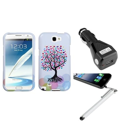 Insten Love Tree Hard Case+Car Charger Adapter+Stylus For Samsung Galaxy Note 2 II